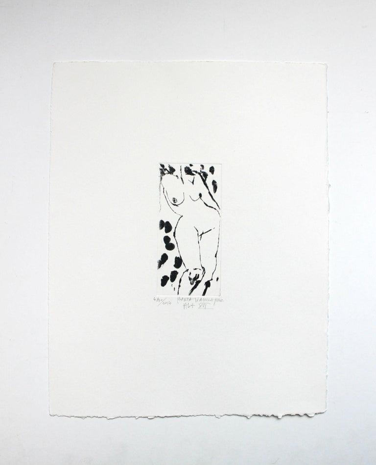 Nude XVI - XXI Century, Contemporary Figurative Drypoint Etching Print - Gray Nude Print by Marta Wakula-Mac