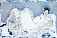 Woman in white dress - XXI century Figurative nude drawing, Gouache, Mixed media