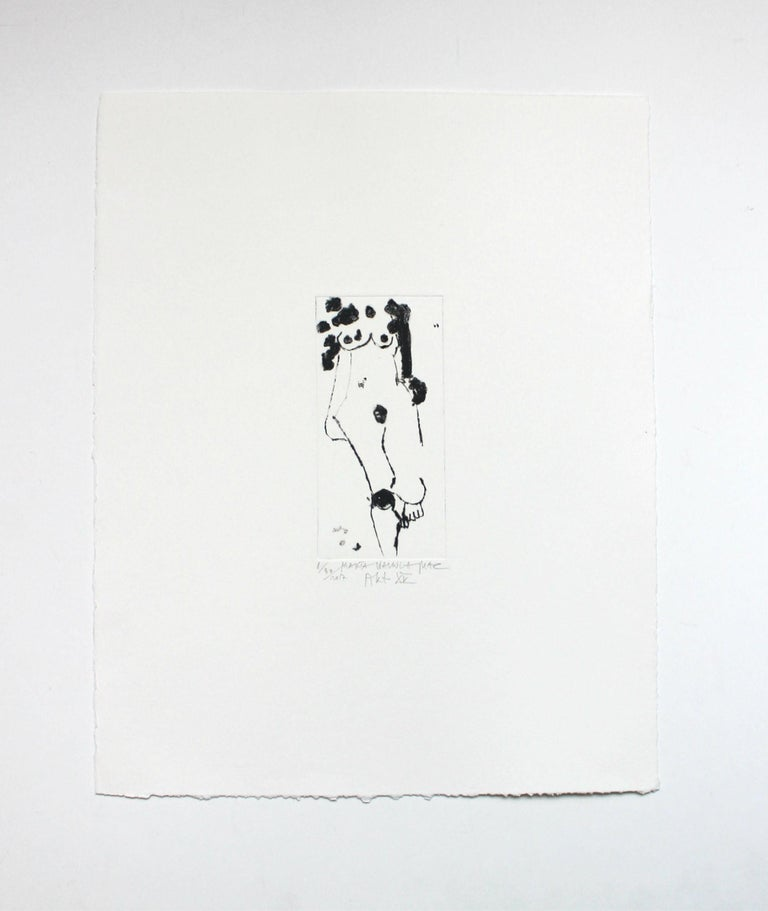 Nude XV - XXI Century, Contemporary Figurative Drypoint Etching Print For Sale 1