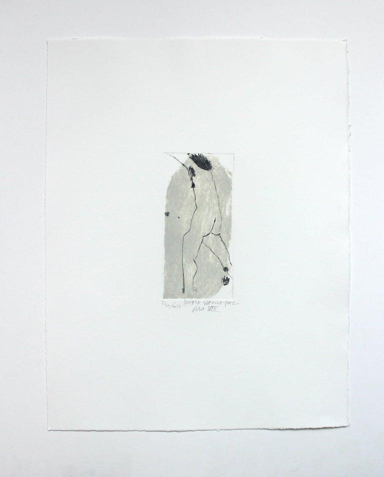 Nude VIII - XXI Century, Contemporary Figurative Drypoint Etching Print - Gray Nude Print by Marta Wakula-Mac