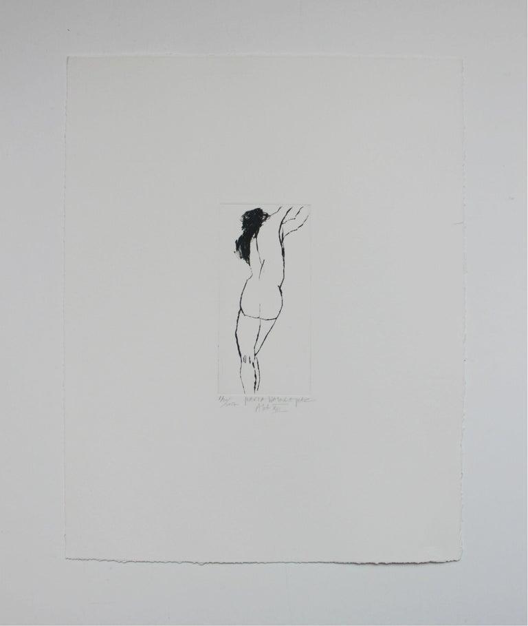 Nude XIII - XXI Century, Contemporary Figurative Drypoint Etching Print - Gray Figurative Print by Marta Wakula-Mac
