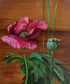 Pink poppy - XXI Century, Contemporary Figurative Floral Oil & Acrylic Painting