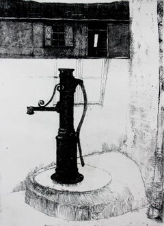 Well at Przedborska Street - XXI Century, Contemporary Etching Print, City view