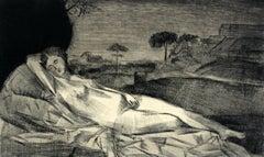 Giorgione's Venus - Contemporary Figurative Etching Print, Nude, Landscape