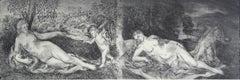 Bordone's Venuses - Contemporary Figurative Etching Print, Nude, Landscape