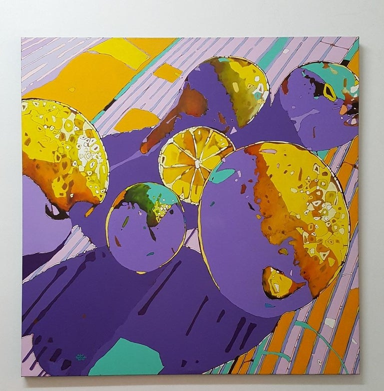 Lemons, a lime and pears - XXI Century, Figurative Oil Painting, Pop Art - Gray Animal Painting by Rafał Gadowski