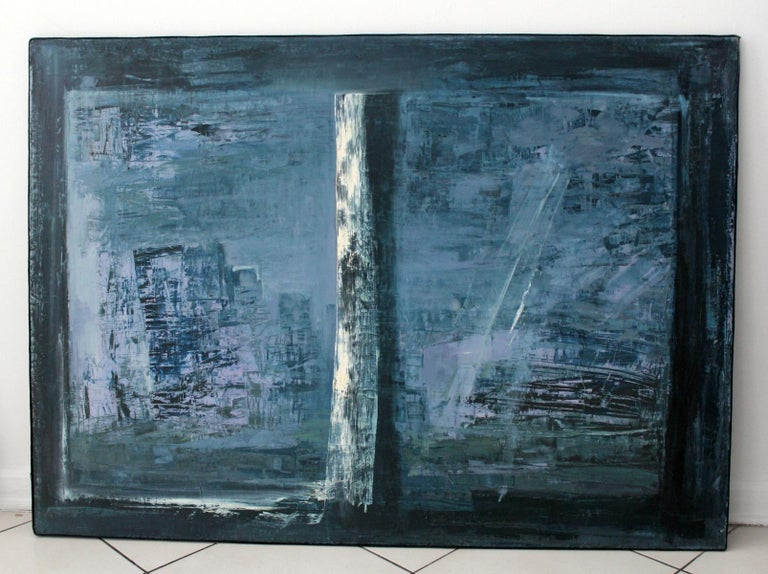 Window - XX Century, Abstract Oil Painting, Blue Shades, Textured For Sale 2
