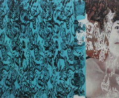 Lace 3 - XXI Century, Contemporary Oil Painting, Abstract & Realist, Blue & Grey