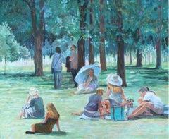 Concert II - XXI Century, Contemporary Impressionist Figurative Oil Painting