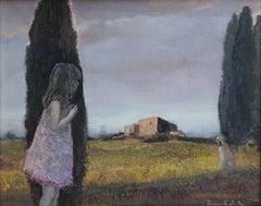 Walk III - XXI Century, Contemporary Figurative Oil Painting, Landscape, Dog
