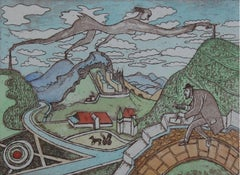 Nikifor, walking by jumping on the mountains - Figurative Aquatint Print