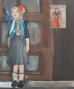 Girl with pompoms - XXI Century, Contemporary Figurative Oil Painting