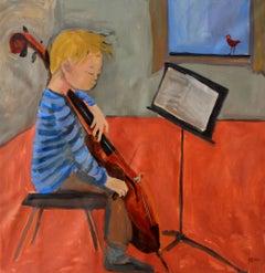 Little cellist - XXI century Contemporary Figurative Oil Painting, Bright Colors
