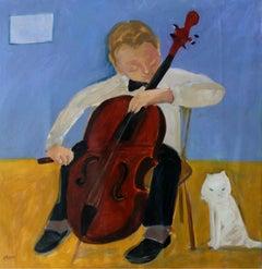 Cellist - XXI century Contemporary Figurative Oil Painting, Bright Colors, Music