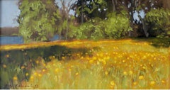 Dandelions by the lake - XXI century Oil painting, Landscape, Warm Tones, Yellow