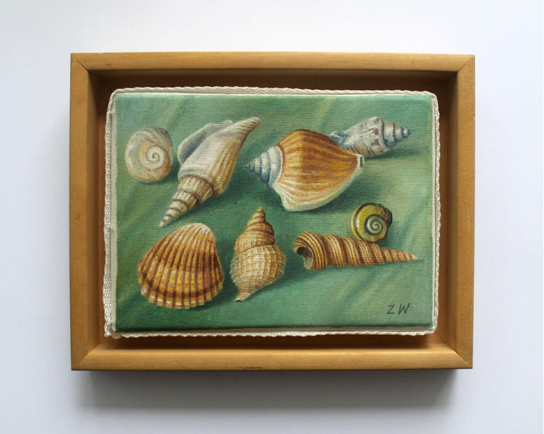 Shells - Contemporary Figurative Oil Painting, Still life, Muted Colors, Realism - Gray Figurative Painting by Zbigniew Wozniak