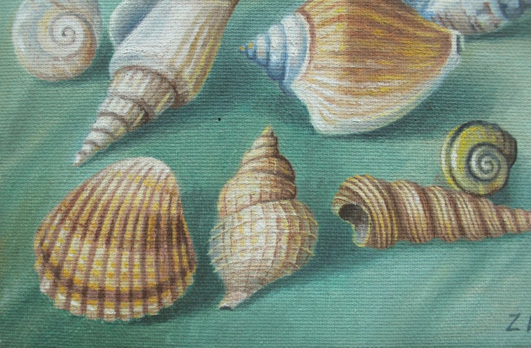Shells - Contemporary Figurative Oil Painting, Still life, Muted Colors, Realism For Sale 1