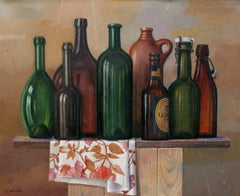 Still life with bottles - Contemporary Figurative Oil Painting, Realistic
