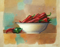 Still life with peppers - Contemporary Figurative Oil Painting, Realistic