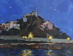 Beach at night, Posidonia - Contemporary Landscape Oil Painting Realism Nocturn