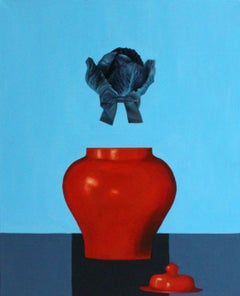 Red Vase - XXI Century, Contemporary Oil Figurative Painting, Still life