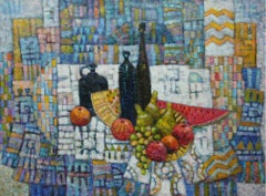 Still-life in blue - XXI Century, Contemporary Acrylic Painting, Colorful