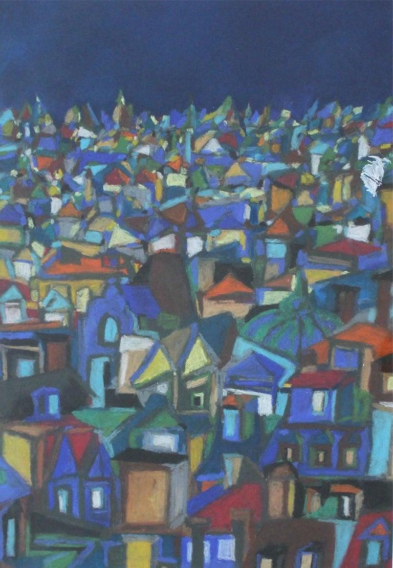 Malgorzata Kwiatkowska Abstract Drawing - City III - XX Century, Contemporary Abstract Pastel Drawing, Colorful, Navy Blue