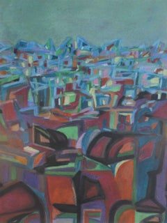 City III - XX Century, Contemporary Abstract Pastel Drawing Colorful, Teal Color
