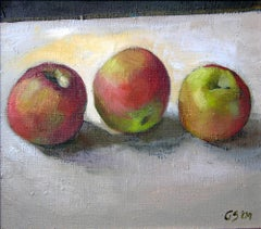 Three apples - XXI Century, Contemporary Figurative Oil Painting,  Still Life
