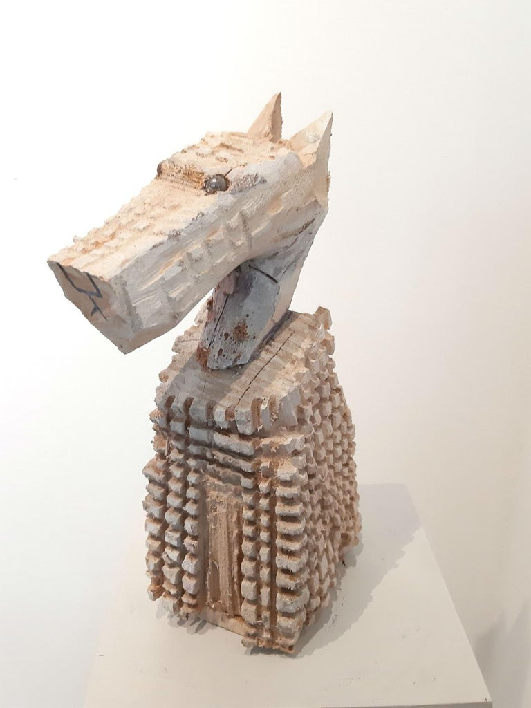 Jozef Wilkon Figurative Sculpture - White Dog - Contemporary art, Figurative wooden sculpture, Animals, Naive XXI