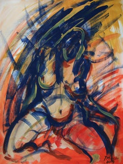 Nude - XXI century, Contemporary Figurative Gouache & Tempera Painting, Colorful