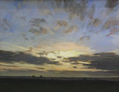 Sunset - XXI Century, Contemporary Landscape Oil Painting, Realistic
