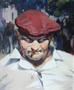 Red beret - XXI Century, Contemporary Figurative Oil Painting, Realism, Portrait