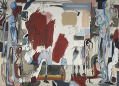 A woman, a man and a picture - XXI century, Young art, Oil abstraction painting