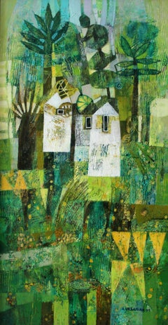 Spring landscape - Contemporary art, Figurative painting, Vibrant Green