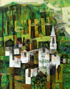 Landscape - Contemporary art, Figurative painting, Vibrant Green, Texture