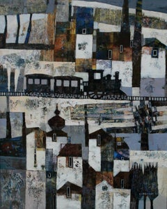 Landscape with a train - Contemporary art, Figurative painting, Texture