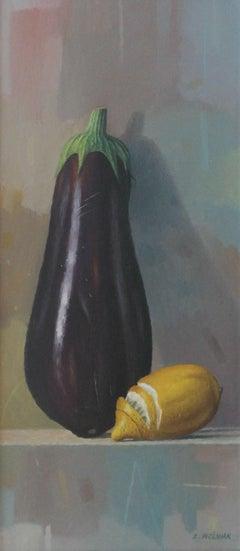 Eggplant - XXI Century, Contemporary Still life Oil Painting, Realistic