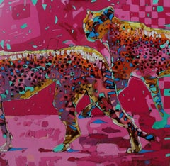 Cheetah 01 - XXI Century, Contemporary Figurative Oil Painting, Pop Art, Animals