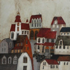 Town VII - XXI Century, Contemporary Landscape Acrylic Painting, Architecture