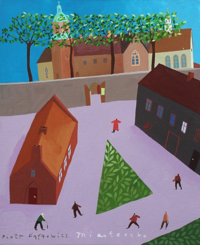 Piotr Fąfrowicz Landscape Painting - A tiny town - XXI Century, Gouache on paper, Architecture View, Landscape