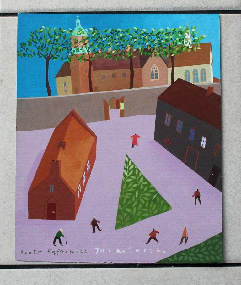 A tiny town - XXI Century, Gouache on paper, Architecture View, Landscape - Painting by Piotr Fąfrowicz