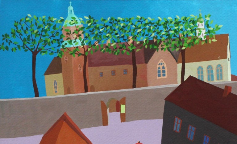 A tiny town - XXI Century, Gouache on paper, Architecture View, Landscape - Gray Landscape Painting by Piotr Fąfrowicz