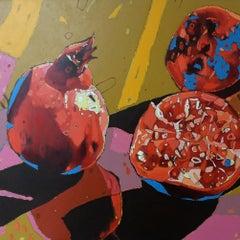 Pomegranates 07 - XXI Century, Oil painting, Contemporary Figurative, Fruits