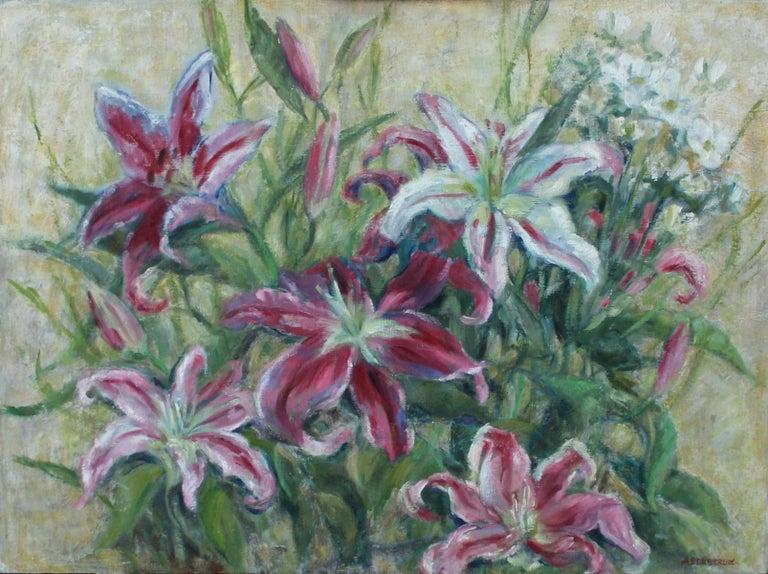 Alicja Berberyusz Still-Life Painting - Lilies - XX Century, Still Life Oil Painting, Flower Composition, Floral