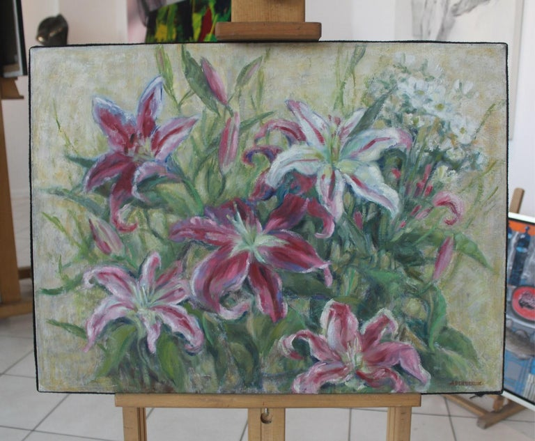 Lilies - XX Century, Still Life Oil Painting, Flower Composition, Floral - Gray Still-Life Painting by Alicja Berberyusz
