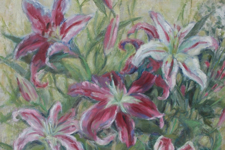 Born in 1945, Alicja Berberyusz is a Polish artist. She studied painting at the Academy of Fine Arts of Warsaw.  Alicja Berberyusz creates bouquets of flowers where color rises in all its splendor, with shades, meticulousness and delicacy. The