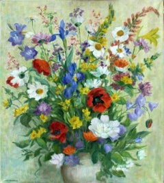 Flowers - XX Century, Still-life Oil Painting, Colorful, Bright Colors, Floral