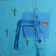 Geyser bath - XXI century, Acrylic figurative painting, Landscape, Vibrant Blue
