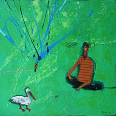 Encounter with a bird - Acrylic figurative painting, Landscape, Vibrant Green